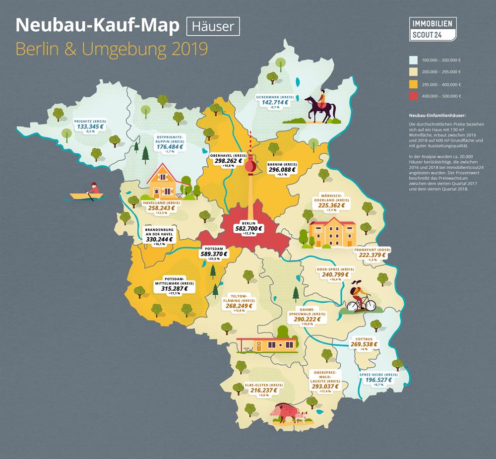 Neubau-Kauf-Map Häuser Berlin und Umland 2019