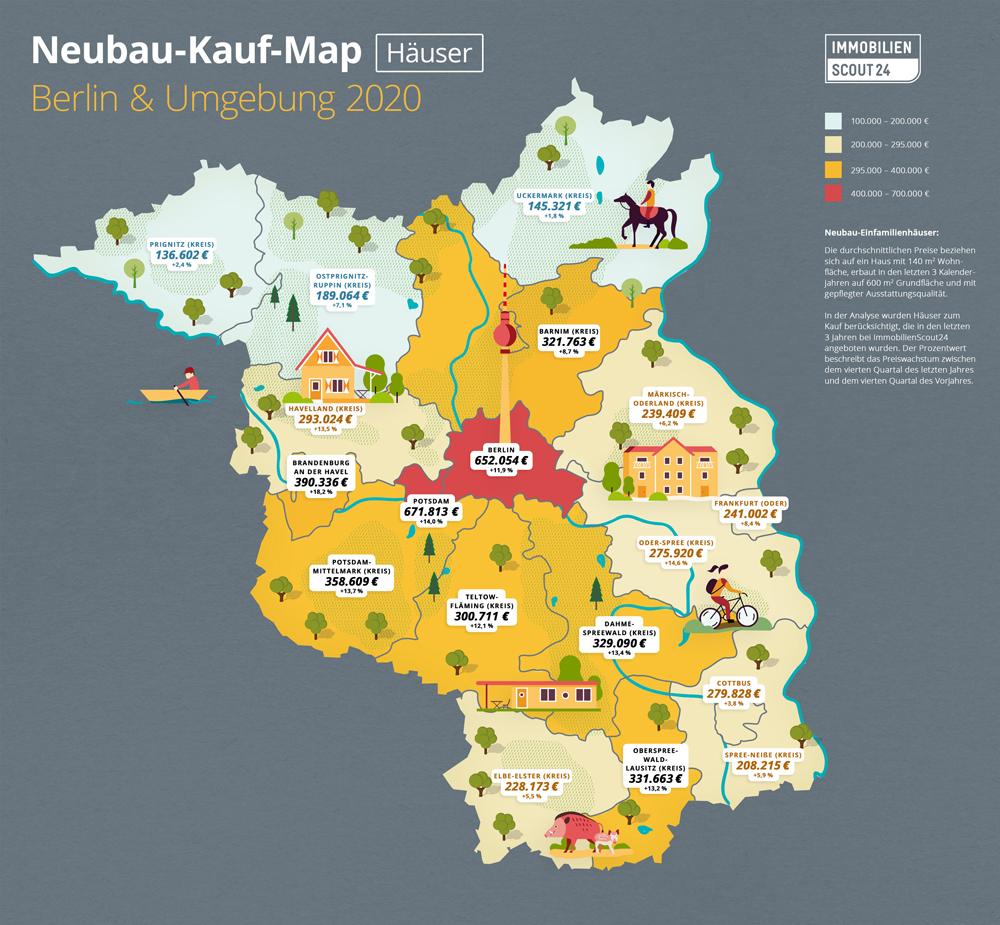 Neubau-Kauf-Map Häuser Berlin und Umland 2020