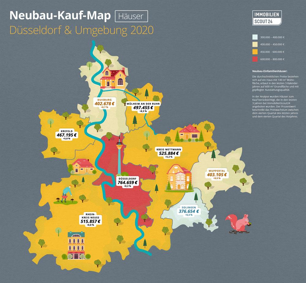 Neubau-Kauf-Map Häuser Düsseldorf und Umgebung 2020