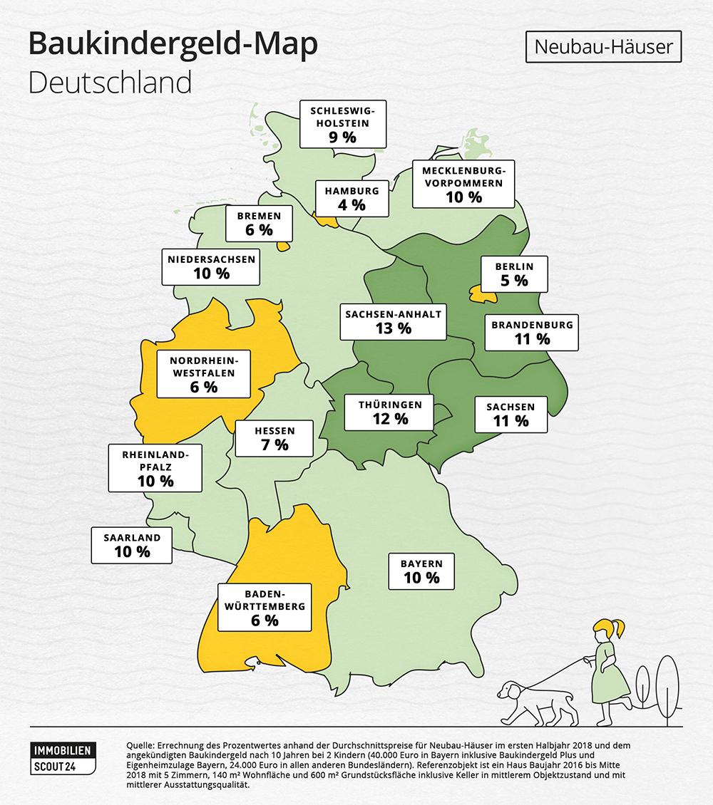 Baukindergeld-Map Deutschland Neubau-Häuser