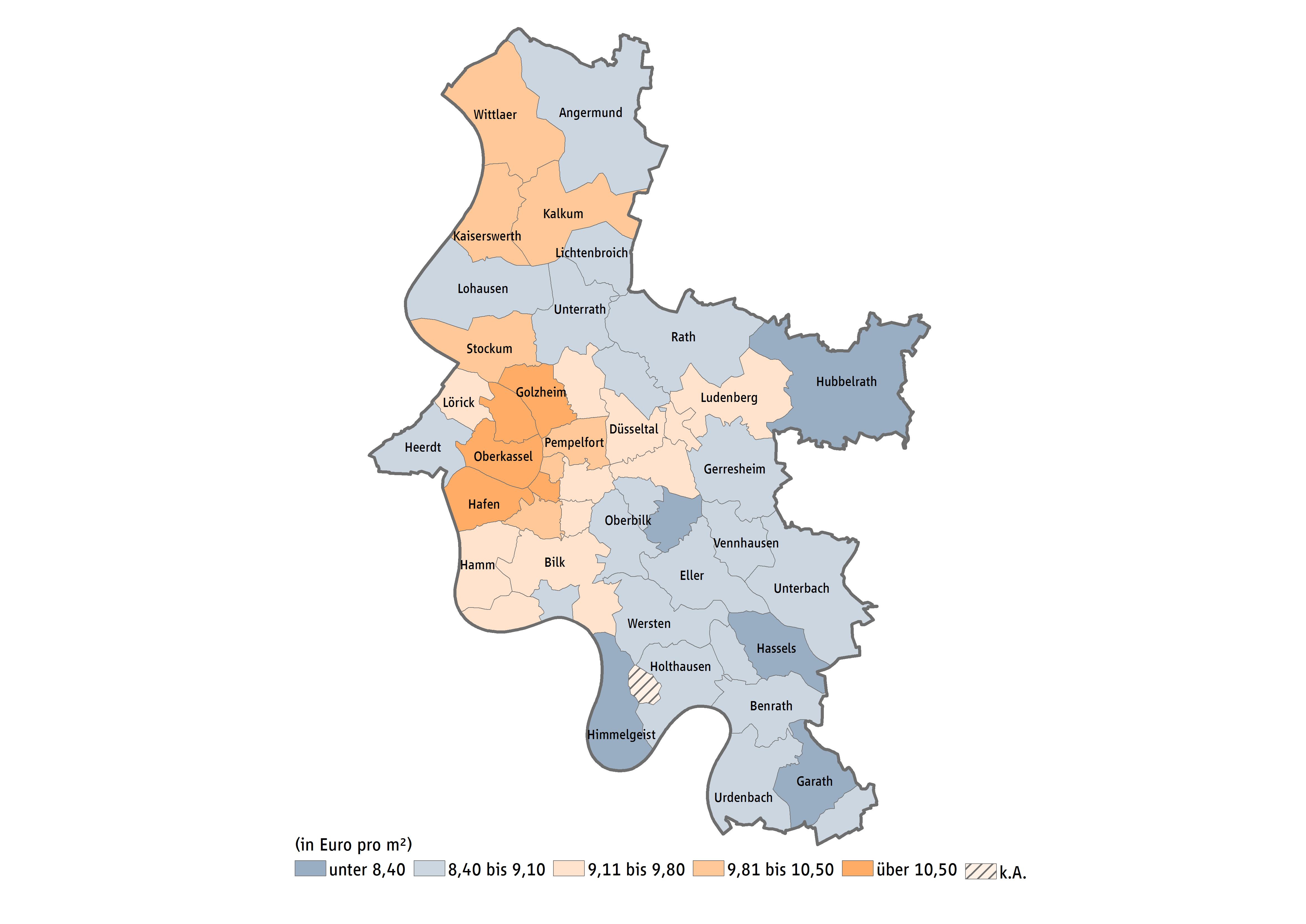 Düsseldorf Karte.Mietspiegel Düsseldorf Mietpreise Immobilienpreise
