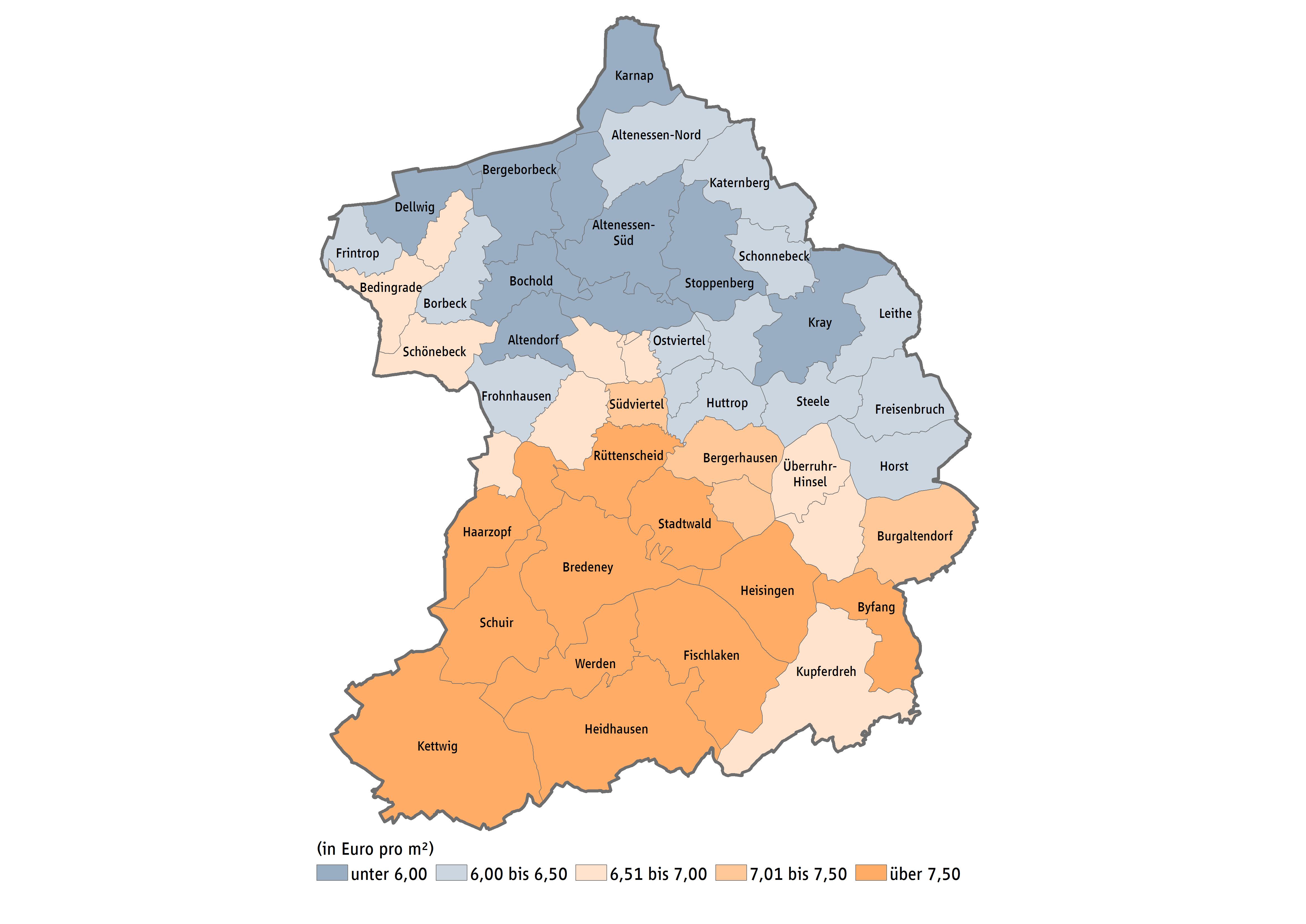 Stadt Essen Karte.Mietspiegel Fur Essen Immobilienpreise Markttrends