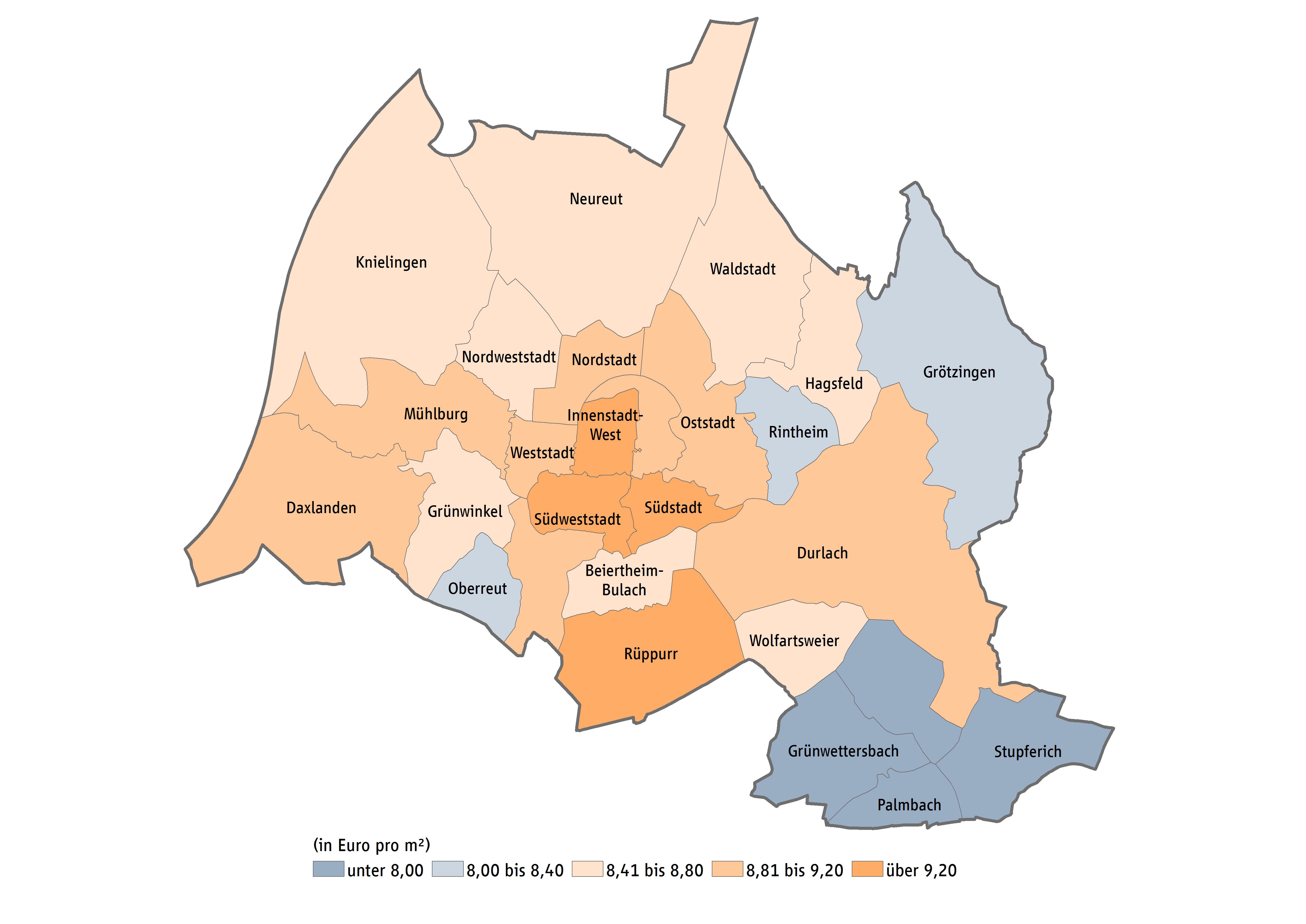 Karlsruhe Karte Umgebung.Mietspiegel Karlsruhe Mietpreise Immobilienpreise