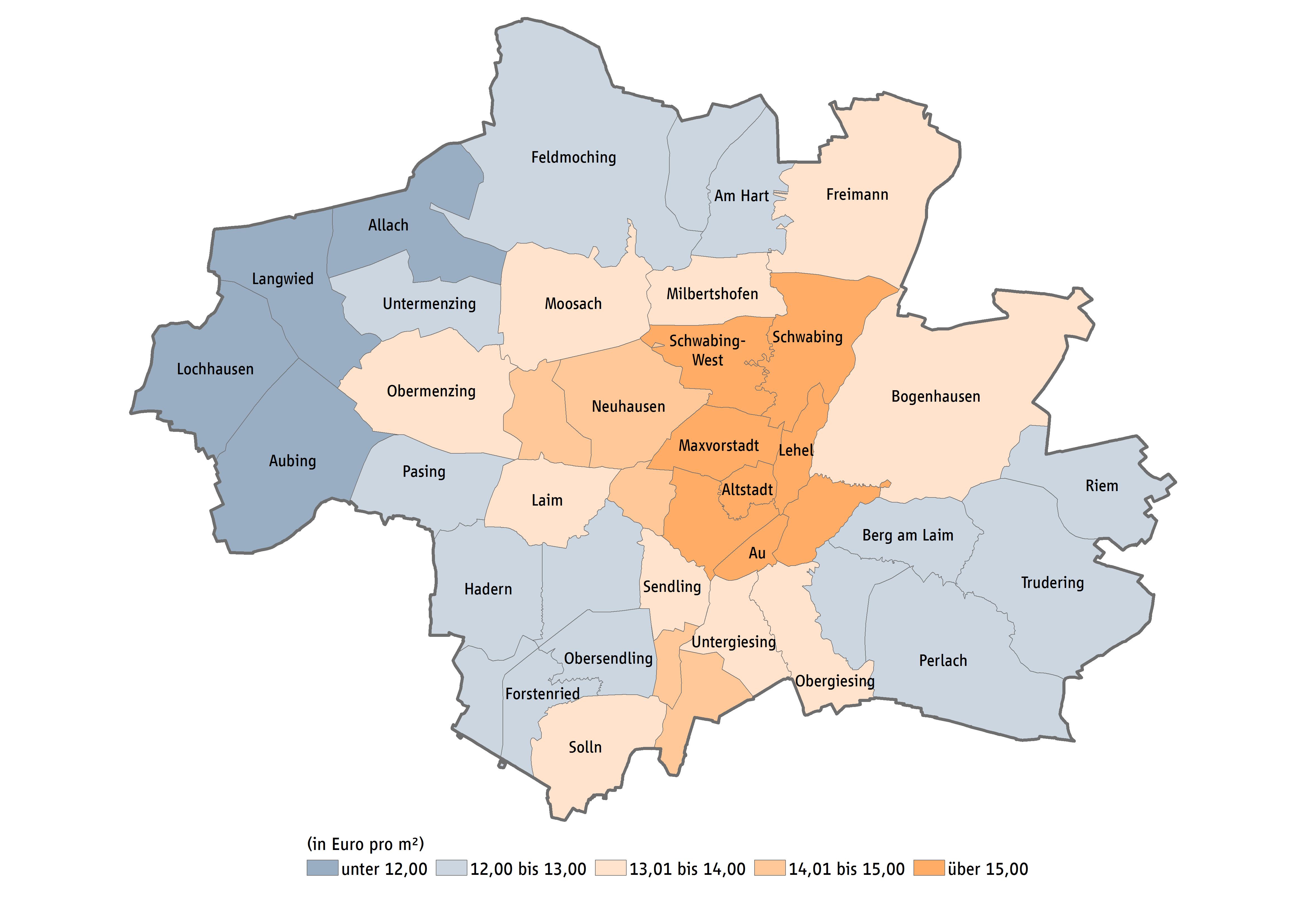 Karte München Stadtteile.Mietspiegel München Mietpreise Immobilienpreise