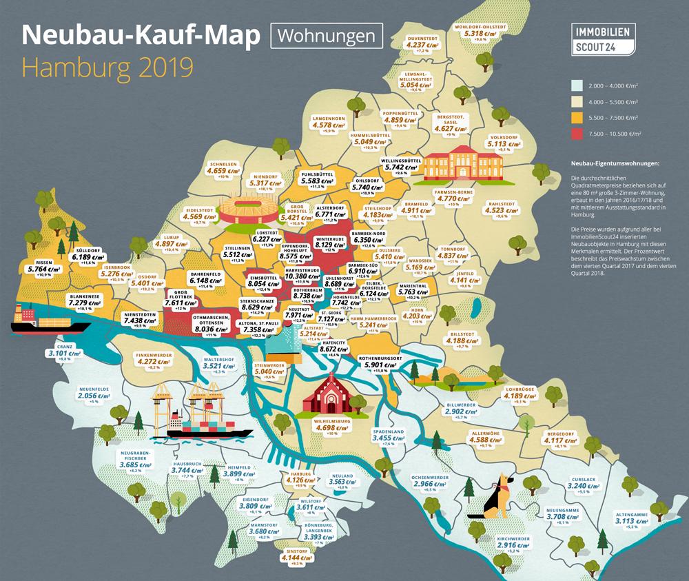 Neubau-Kauf-Map Wohnungen Hamburg 2019