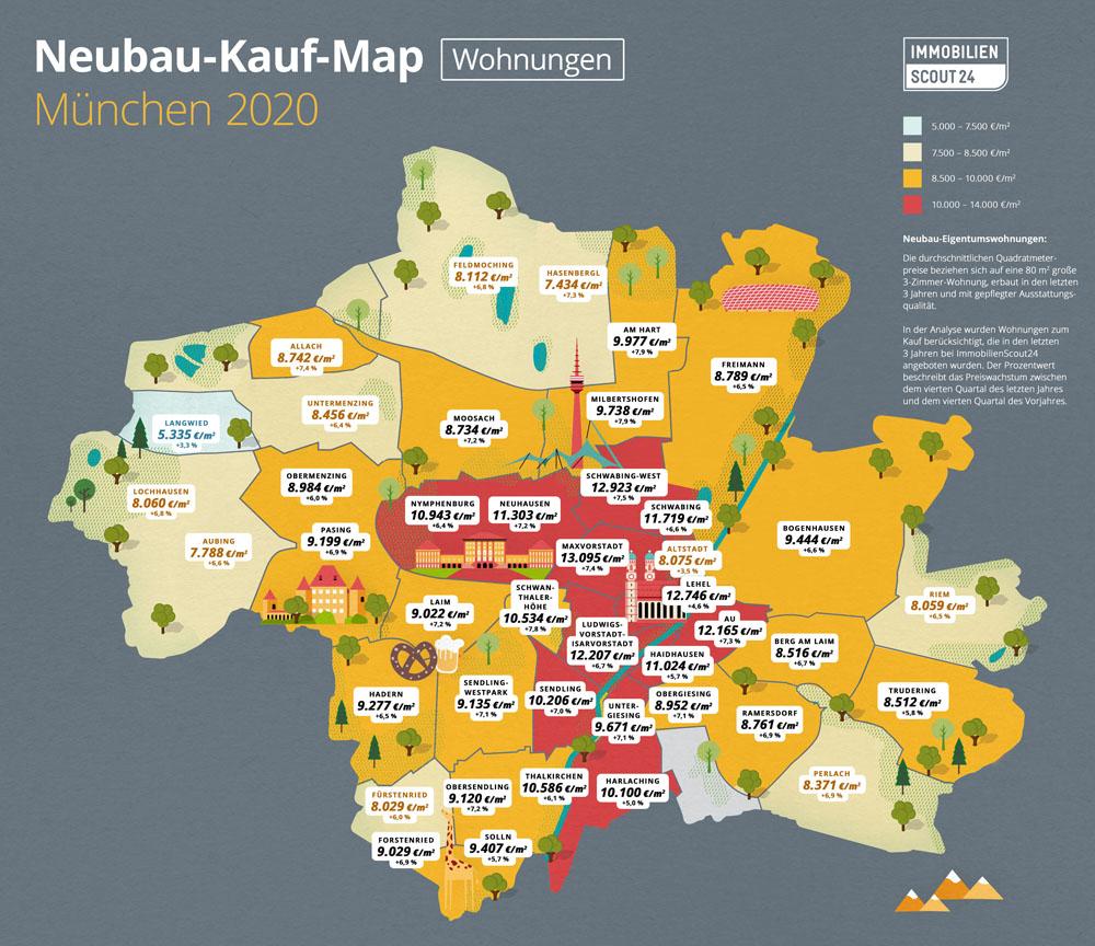 Neubau-Kauf-Map Wohnungen München 2020